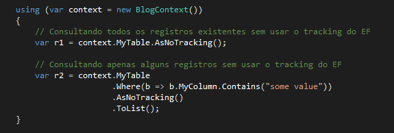 Exemplo de código com AsNoTracking()