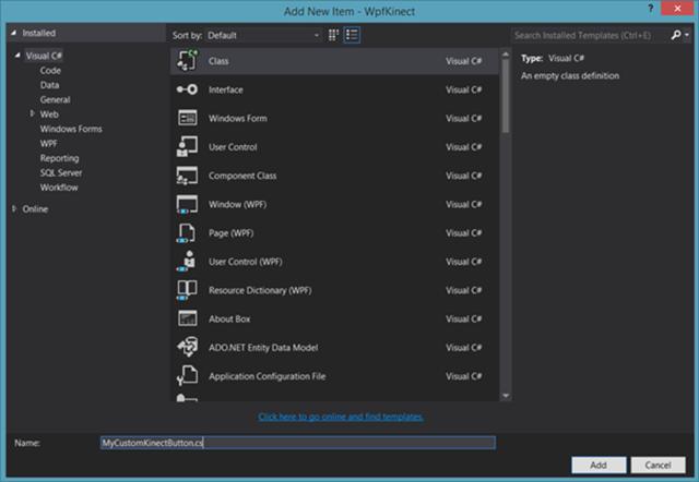 Tela de adição de novos itens do Visual Studio